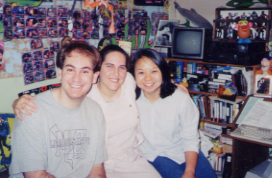 Andrea, Elaine, and me in my room at the end of Summer 2001.